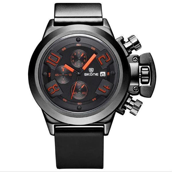 SKONE 4188 Мода Мужчины Водонепроницаемый Кварцевые часы Мужчины Luxury силиконовой лентой Многофункциональный Спортивные часы - 1TopShop