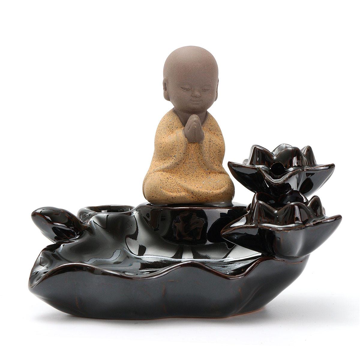 Lotus Лист Маленький монах Backflow Incense Burner Censer Holder Домашнее украшение Похудение Оборудование - 1TopShop