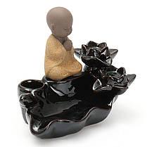 Lotus Лист Маленький монах Backflow Incense Burner Censer Holder Домашнее украшение Похудение Оборудование - 1TopShop, фото 2