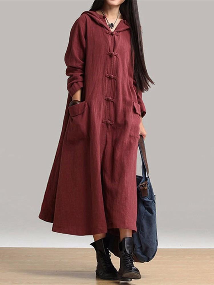 Винтаж женское платье с длинными рукавами Пластиковые пряжки карманные платья с капюшоном - 1TopShop
