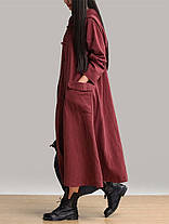 Винтаж женское платье с длинными рукавами Пластиковые пряжки карманные платья с капюшоном - 1TopShop, фото 2