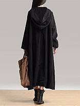 Винтаж женское платье с длинными рукавами Пластиковые пряжки карманные платья с капюшоном - 1TopShop, фото 3