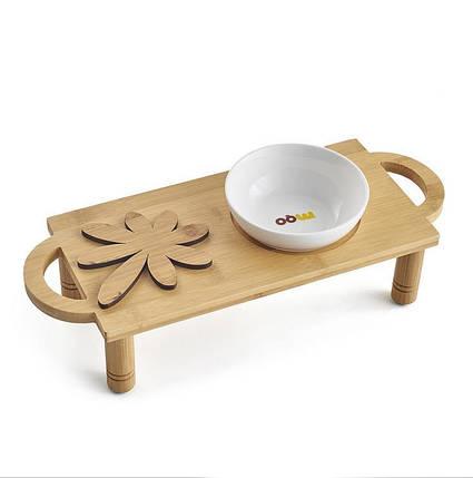 Керамический Чаша для домашних животных с крепкой подставкой из бамбука для миски для еды и воды - 1TopShop, фото 2