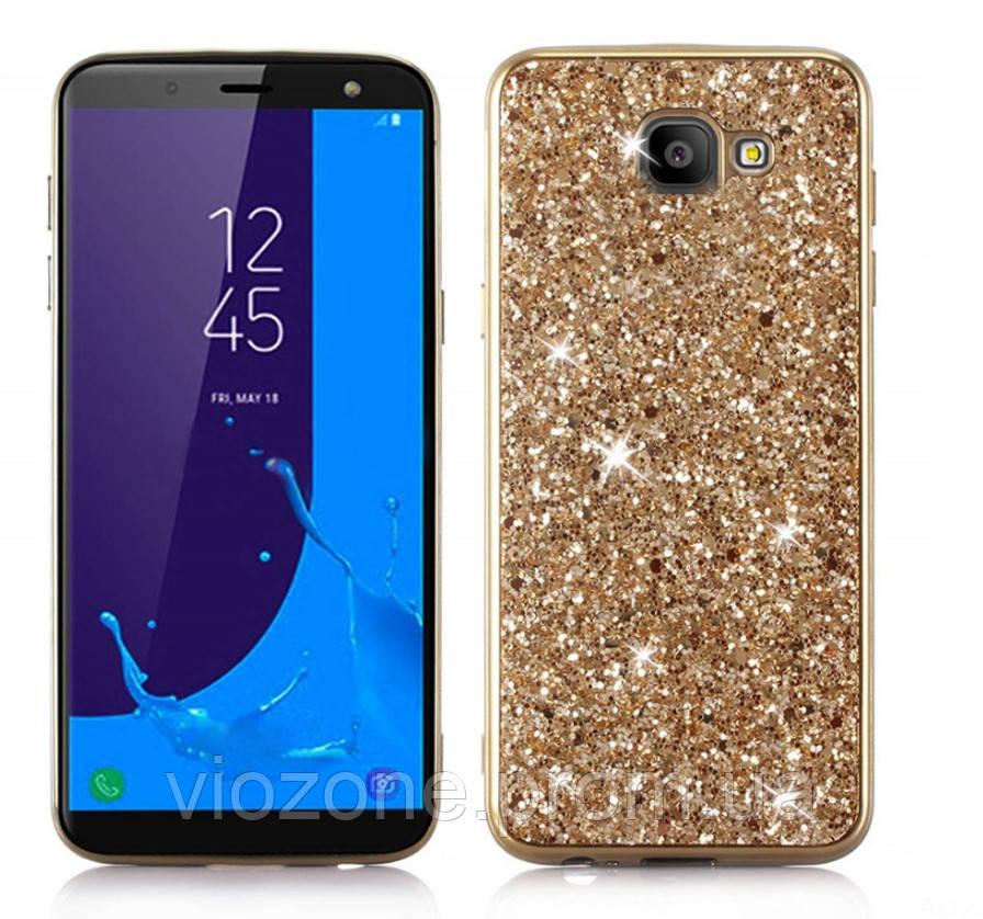 Чехол/Бампер блеск с кристаллами для Samsung J4 Plus 2018 (J415) Золотой (Силиконовый)