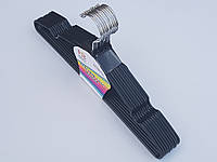 Плечики тремпеля металлический в силиконовом покрытии черного цвета, длина 40 см, в упаковке 10 штук