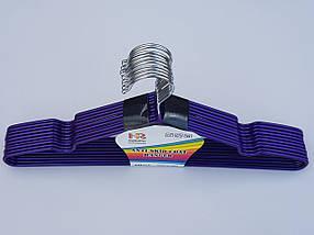 Плечики  металлический в силиконовом покрытии, цвет фиолетовый металлик, длина 40 см, в упаковке 10 штук, фото 2
