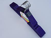 Плечики  металлический в силиконовом покрытии, цвет фиолетовый металлик, длина 40 см, в упаковке 10 штук