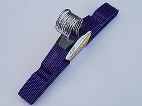 Плечики  металлический в силиконовом покрытии, цвет фиолетовый металлик, длина 40 см, в упаковке 10 штук, фото 3
