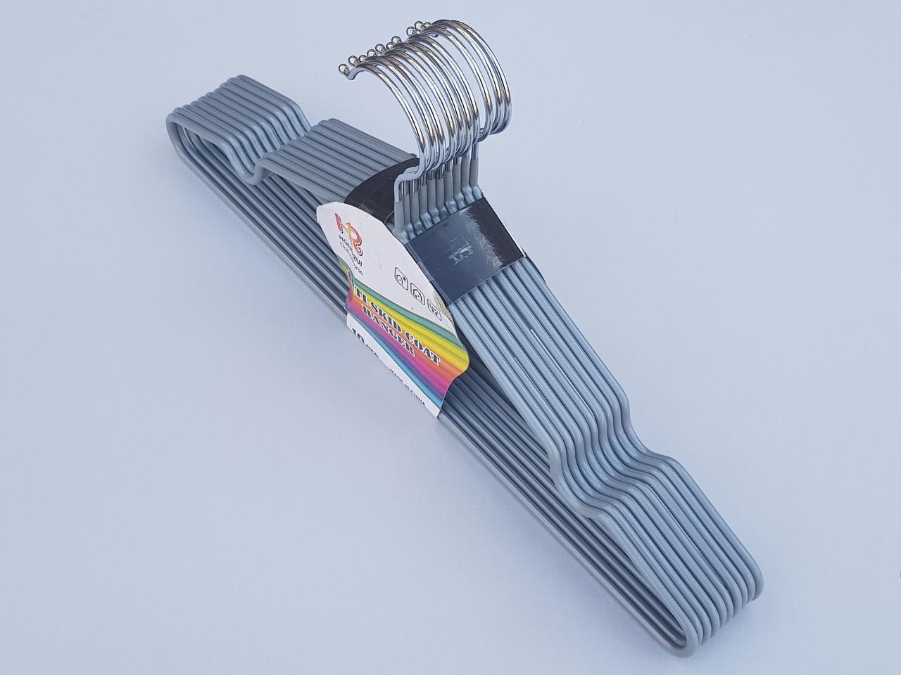 Плечики тремпеля металлический в силиконовом покрытии серебристого цвета,длина 40 см, в упаковке 10 штук