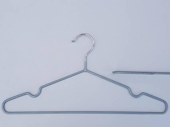 Плечики тремпеля металлический в силиконовом покрытии серебристого цвета,длина 40 см, в упаковке 10 штук, фото 2