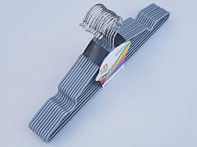 Плечики тремпеля металлический в силиконовом покрытии серебристого цвета,длина 40 см, в упаковке 10 штук, фото 3