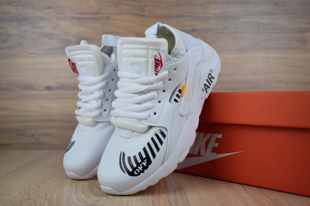 1897de39 Женские кроссовки в стиле Nike Huarache x OFF White, сетка, пена, белые -