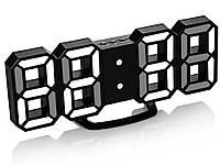 Часы 3D светодиодные светящиеся Digoo с будильником Черный корпус Белый