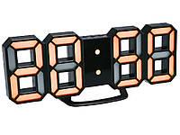 Часы 3D светодиодные светящиеся Digoo с будильником Черный корпус Оранжевый