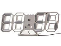 Часы 3D светодиодные светящиеся Digoo с будильником Белый корпус Белый