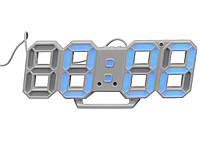 Часы 3D светодиодные светящиеся Digoo с будильником Белый корпус Синий