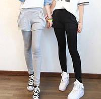 Леггинсы утепленные с шортами и с декоративными карманами  #3. Черные, фото 1
