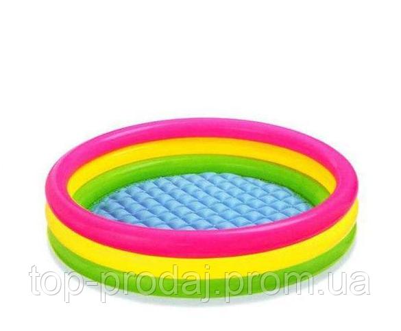 57412 Бассейн детский с надувным дном 114*25см, Надувной бассейн для ребенка, Басейн от 1 года