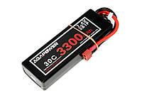 Аккумулятор AGA POWER Li-Pol 3300mAh 7.4V 2S1P 30C Hardcase 25x47x138мм T-Plug