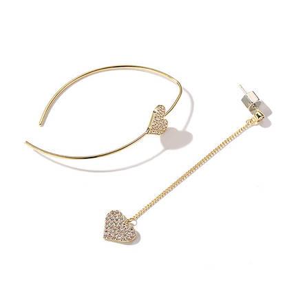Нежное ослепительное асимметричное Сердце Серьги с серебристым серебром Серьги на Женское - 1TopShop, фото 2