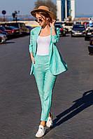 Весенне-летний женский костюм из льна с разрезом по спинке пиджака, укороченные брюки