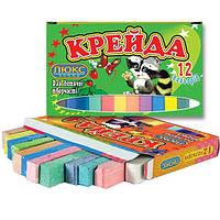 Мелки цветные 12шт Люксколор квадр 70*15*10мм карт. уп. КК912/КК1412