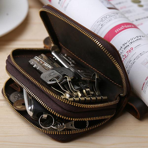 МужскиекожаныебрелкидляключейСумка Ключ Крюк Молния Чехол Держатель для монет с 6 ключами Крюкs - 1TopShop