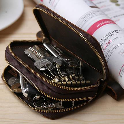 МужскиекожаныебрелкидляключейСумка Ключ Крюк Молния Чехол Держатель для монет с 6 ключами Крюкs - 1TopShop, фото 2