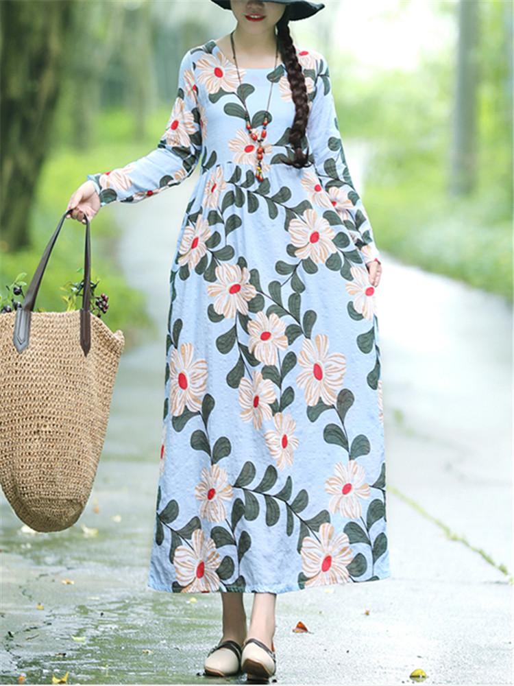 Женская мода Кафтан Цветочный Шаблон Платье Цвет Блок с длинным рукавом Платье - 1TopShop