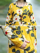 Женская мода Кафтан Цветочный Шаблон Платье Цвет Блок с длинным рукавом Платье - 1TopShop, фото 2
