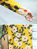 Женская мода Кафтан Цветочный Шаблон Платье Цвет Блок с длинным рукавом Платье - 1TopShop, фото 3