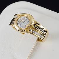 """Бесподобное кольцо """"Cartier"""" с кристаллами Swarovski, покрытое золотом 0651"""