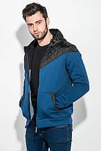 Толстовка мужская с капюшоном, стеганный верх 70PD5003 (Джинсово-синий)