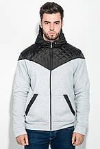 Толстовка мужская с капюшоном, стеганный верх 70PD5003 (Светло-серый меланж)
