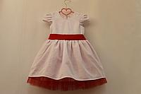 """Нарядное платье с канвы , для тех кто вышивает крестиком """"Белое с красным фатином"""""""