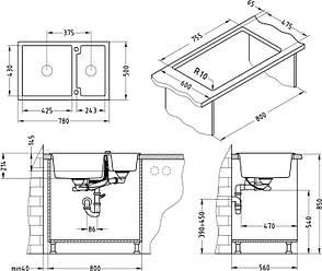 Кухонная мойка Alveus Cubo 50 (Algranit) (с доставкой), фото 2