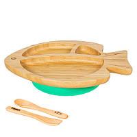 Секционная тарелка из бамбука на присоске, ложка и вилка Бабака, Зеленый - 146015
