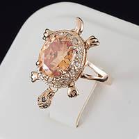 """Загадочное кольцо """"ЧЕРЕПАШКА"""" с кристаллами Swarovski, покрытое слоями золота 0671"""