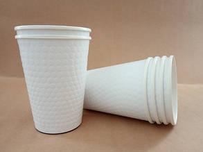 """Бумажный стакан 425 мл """"Bubble white"""" двухслойный"""