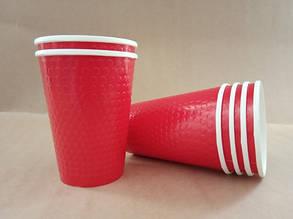 """Бумажный стакан 425 мл """"Bubble red"""" двухслойный"""