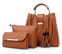 Набо женских сумок 3 в 1 (шоппер, косметичка и клатч) Viva brown