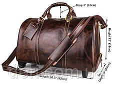Сумка дорожная Vintage 14254 на колесах Коричневая, Коричневый, фото 2