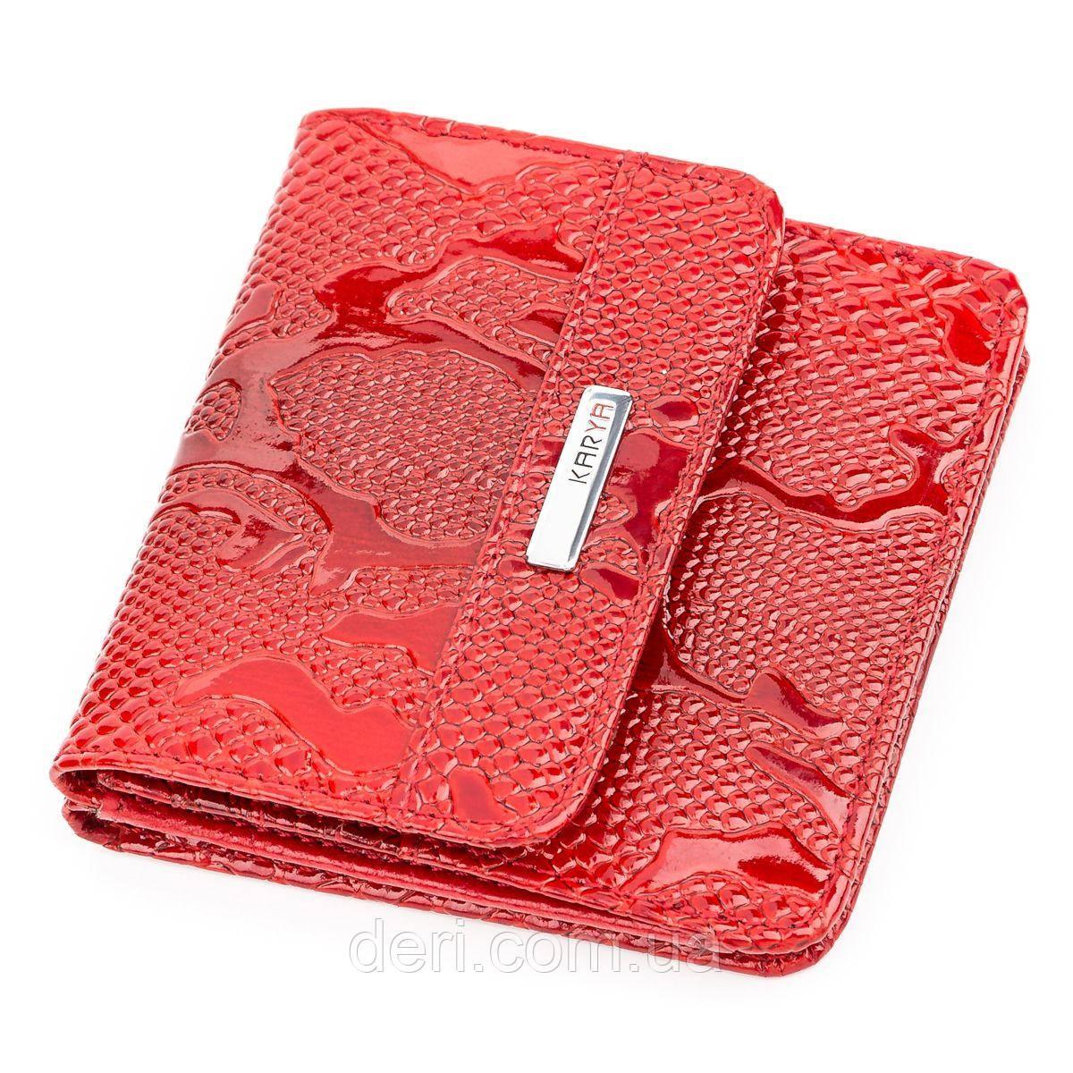 Кошелек компактный KARYA 17172 кожаный Красный, Красный