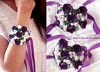 """""""Сказочный фиолет"""" браслет на руку с цветами из полимерной глины"""