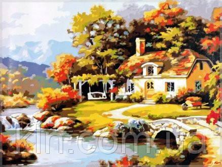Картина по номерам Babylon Уютный дом у рекиMS612 40 х 50 см