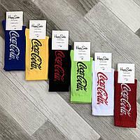 Носки мужские демисезонные х/б Happy Socks Coca-Cola, размер 41-45, высокие, ассорти, 03298
