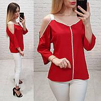 Блузка з оголеними плечима, модель 159, колір червоний, фото 1