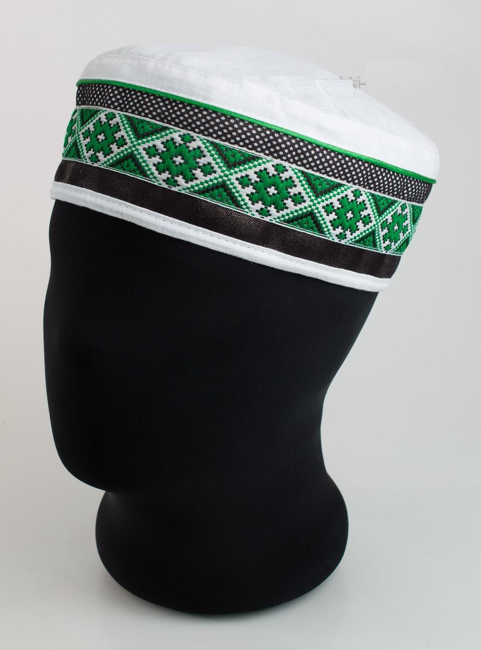 Мужская белая  летняя тюбетейка  льняная с зеленой вышивкой
