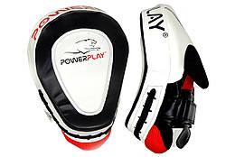 Лапи боксерські PowerPlay 3042 Чорно-Білі PU, пара - 143749