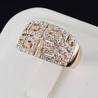 Прекрасное кольцо с кристаллами Swarovski, покрытое золотом 0660